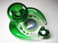 HIPPO HEADEEZ GLASS PIPE-ヘッディーズガラスパイプ(WHITE/GREEN)
